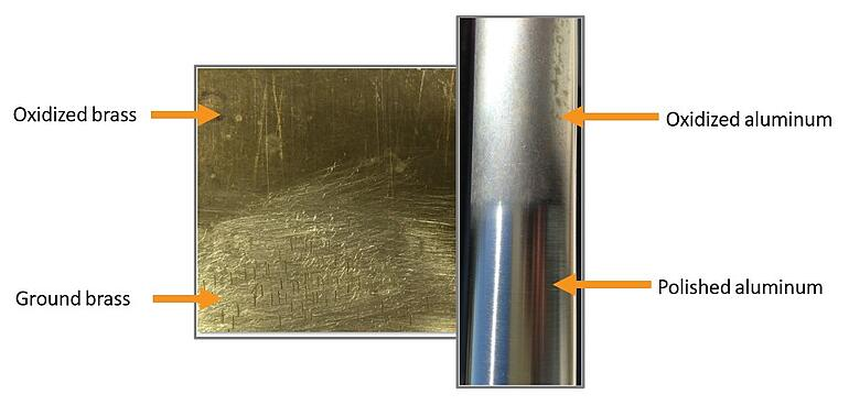 Oxididized brass and aluminum
